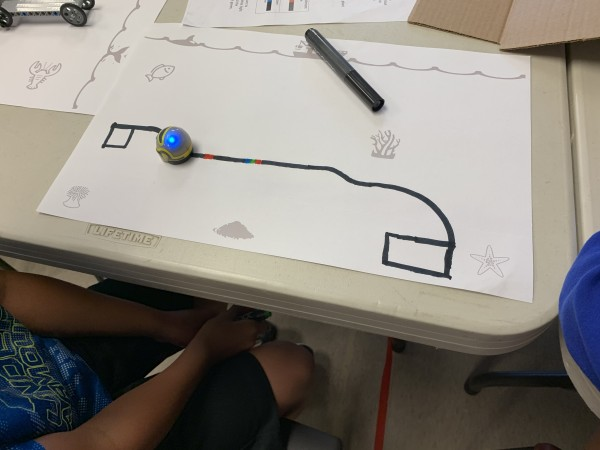 Using given color codes (and other combinations they discover and experiment with!), the camper/explorers program their Ozobots to accomplish tasks.