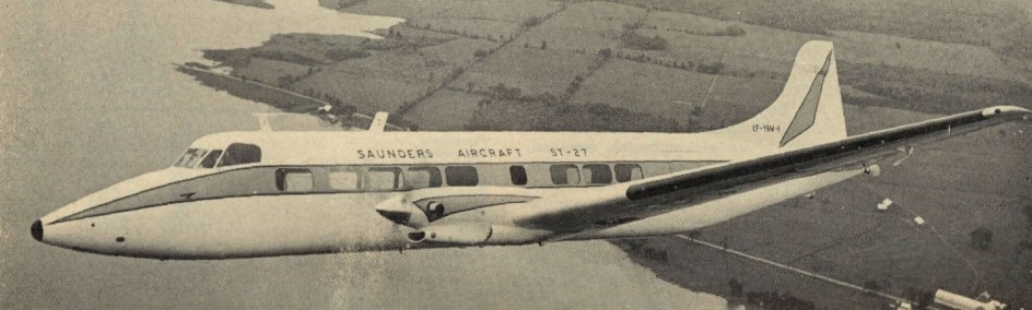 "The prototype of the Saunders ST-27 commuter airliner in flight, May 1969. Anon., ""Air Transport … Light, Commercial & Business."" Flight International, 7 August 1969, 200."