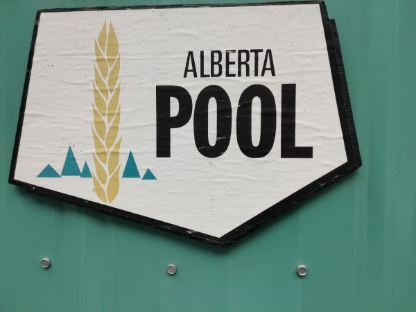 Close-up view of the Alberta Pool sign.