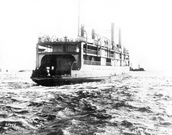 A black-and-white image of the SS Prince Edward Island on the water.