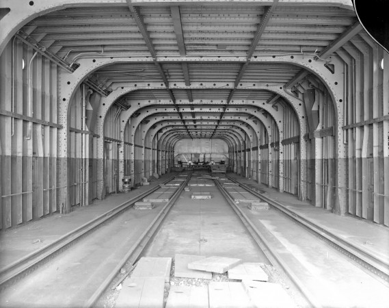 A black-and-white image of the train deck on the SS Prince Edward Island.