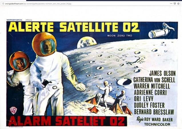 A poster for the French and Dutch language versions of the British science fiction film Moon Zero Two.