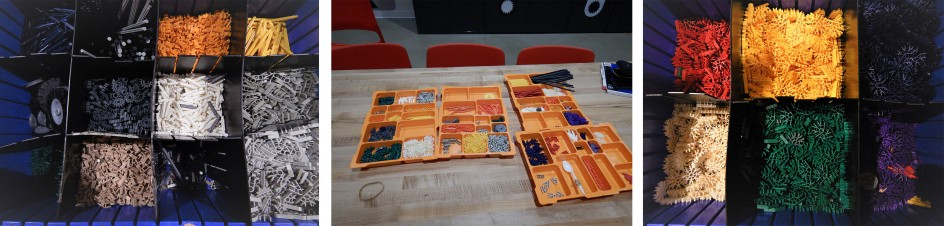Photos showing trays and bins of K'NEX pieces organized by type