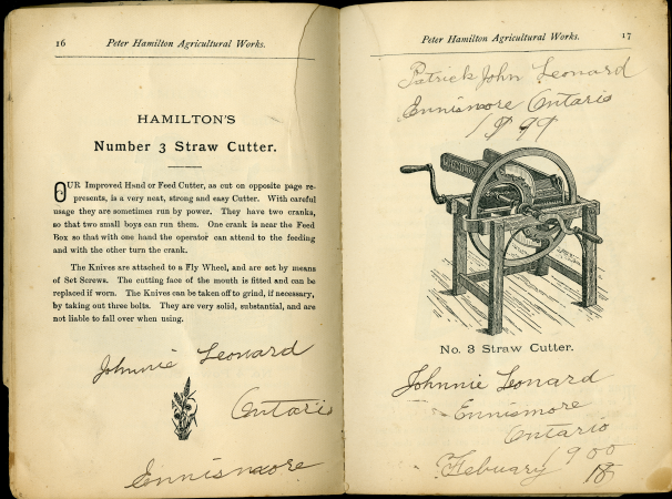 Catalogue pages with Johnnie Leonard's signature and other handwriting, this time in ink.  The printed information is about Hamilton's Number 3 Cutter; there is text on one page and a diagram on the other.