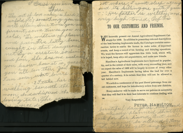 The inside front cover of the catalogue, damaged and covered with handwriting, and the first page with printed text and handwriting filling in all empty space.