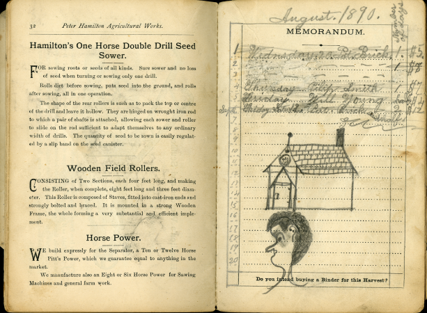 Another page of the catalogue with some handwriting in pencil, but also drawings of a person's head and a church. The printed text on the other page is about Horse seed sowers, wooden field rollers, and horse power.