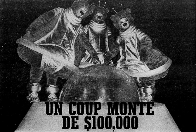 "From left to right, Boum-Boum, Ba-Ba and Bi-Bi, in other words the Lunours. Anon., ""Toute la vérité sur la soucoupe de St-Bruno – Un coup monté de $100,000."" Photo-Journal, 23 February to 1 March 1970, 1."