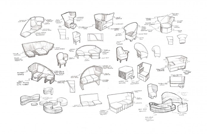 Pencil sketches showing an array of design ideas for the chair