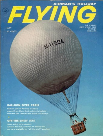 "Constance Cann Wolf caught on film as she herself caught on film a scene that caught her eye, Valley Forge, Pennsylvania. The gas balloon belonged to the Balloon Club of America. Anon., ""Balloon over Paris."" Flying, May 1959, cover."