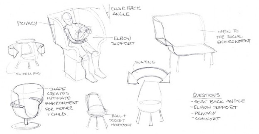 Pencil sketches of various chair concepts