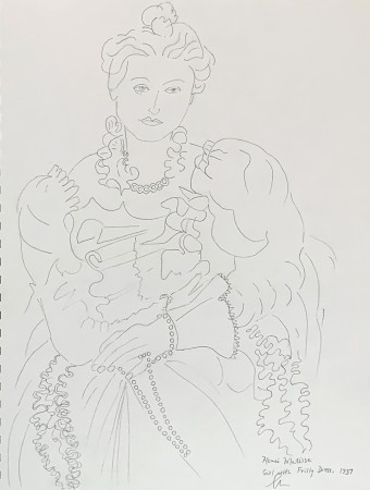 A line drawing of a girl in a frilly dress.