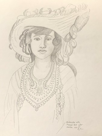 A pencil drawing of Antoinette with the Plumed hat after Matisse.