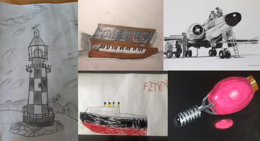A collage of drawings and paintings for the Artistic Artifact competition. From left, clockwise: a drawing of a lighthouse, a drawing of a synthesizer, a drawing of a jet and ground crew, a drawing of a mercury light bulb, a drawing of a ship.