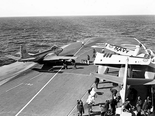 McDonnell F2H-3 Banshee on the HMCS Bonaventure steam catapult