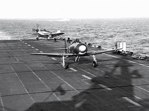 Hawker Sea Fury and a Fairey Firefly aboard the HMCS Magnificent