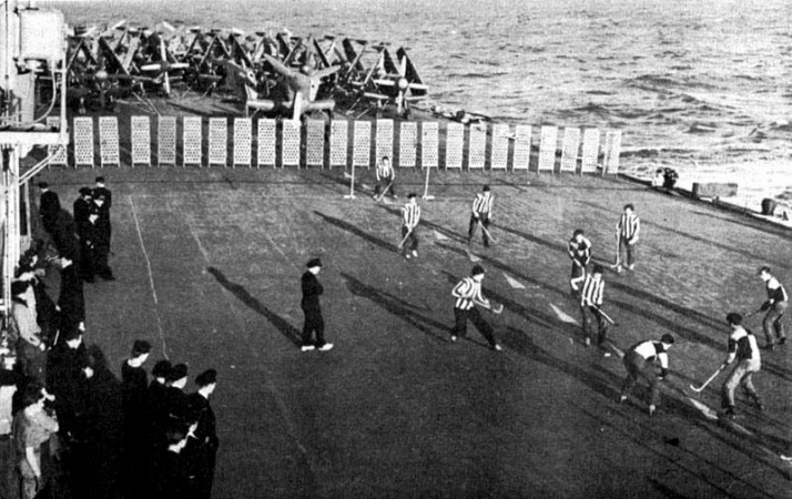 hockey on the HMCS Magnificent