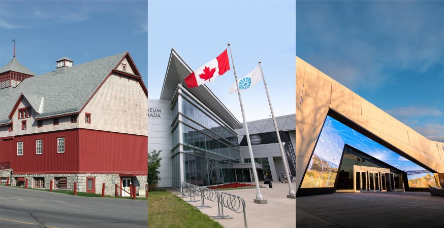A composite image of the Canada Agriculture and Food Museum, the Canada Aviation and Space Museum, and the Canada Science and Technology Museum