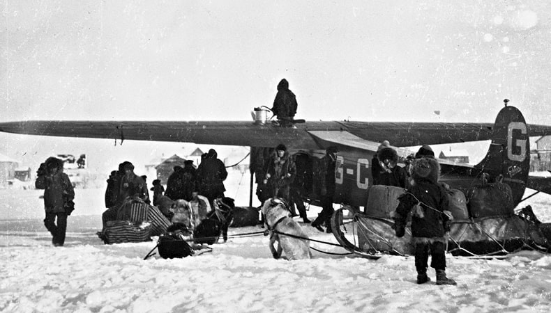 The first Air Mail delivery to Fort Resolution, NWT in January 1929, in a Fokker Super Universal operated by Western Canada Airways.