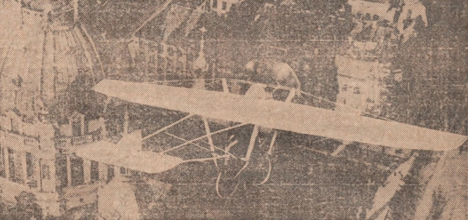"Peter Müller at the controls [sic] of the Pedroplan, Berlin, Germany, March 1931. Anon., ""Cologne contre Marseille – Le mystère du 'Pédroplan.' [sic]"" Les Ailes, 2 April 1931, 14."