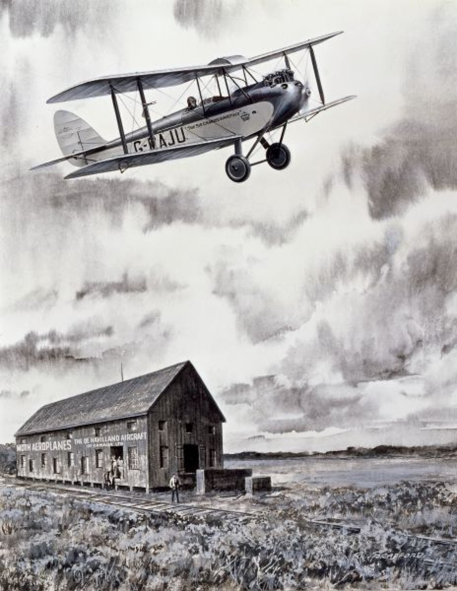 The first de Havilland Moth assembled in Canada by de Havilland Aircraft of Canada Limited, Weston, Ontario, April 1928. Robert William Bradford, Leigh Capreol's Historic Flight, gouache on cardboard, early 1960s, CASM, artefact number 2006.0071.