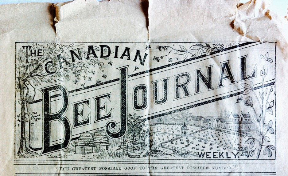 Detail of the masthead in The Canadian Bee Journal 11.34 (November 17, 1886), 665. Rare Books Collection. Canada Science and Technology Museum.