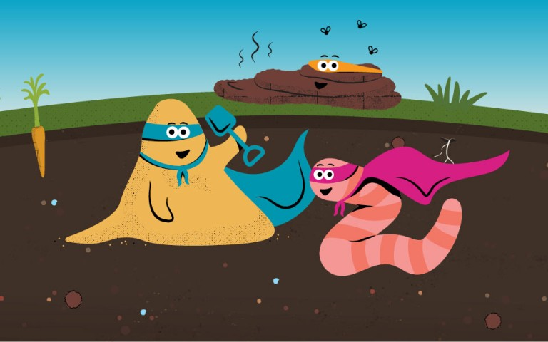 Cartoon-style garden landscape, focusing on the soil under the ground. Various colourful characters such as such as a mole, an earthworm, and compost smile to the camera, dressed as superheroes.