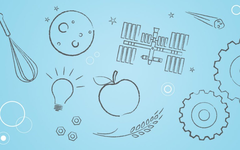 An image with black illustrations of a squash, a whisk, a planet, a bulb, bolts, International Space Station, an apple, a wheat sprig, a meteorite, and gears on a blue background.