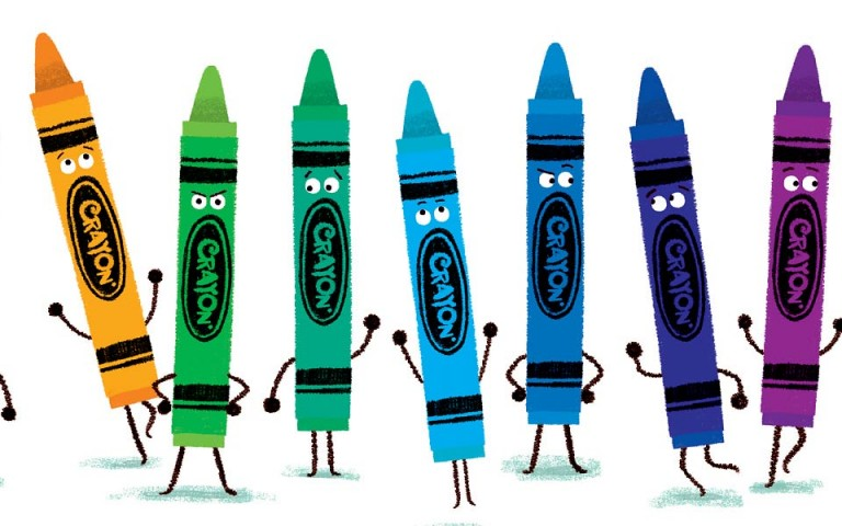 A bunch of crayon characters. Illustration.