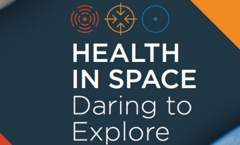 Image of the document's title page featuring the exhibition's title, Health in Space: Daring to Explore.
