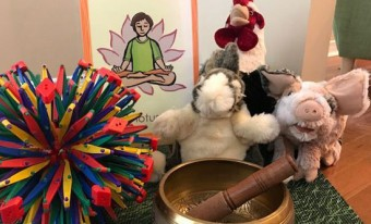 yoga decor and toy farm animals