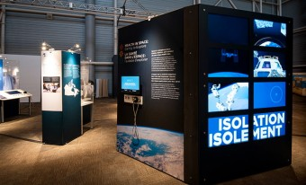 Image of text and video panels from the Health in Space: Daring to Explore travelling exhibition.