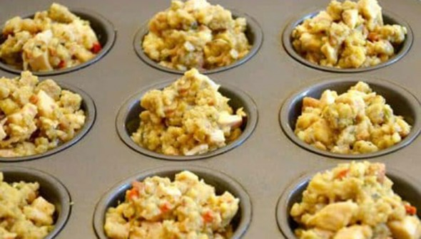 leftover stuffing and turkey in a muffin tin