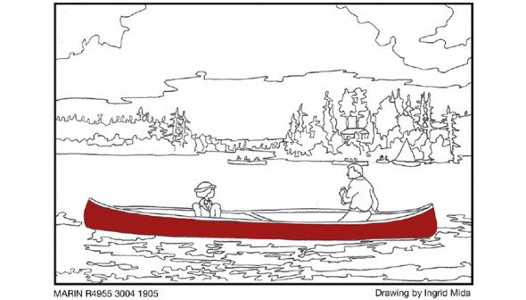 illustration of a woman and a man in a red canoe