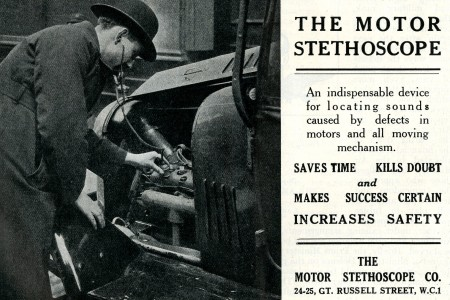 "Using a mechanic's stethoscope, more specifically a Motor Stethoscope, to pinpoint a problem in the engine of an automobile. ""Advertising – Motor Stethoscope Company."" Air, June 1928, 43."