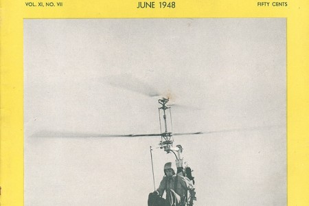 "One of the three pre-production Pentecost Hoppi-Copters. Anon., ""Hoppi-Copter in flight."" American Helicopter, June 1948, cover."