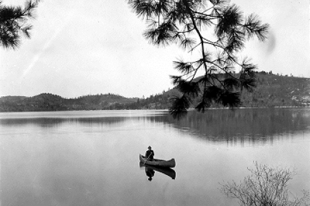 Canoe on lake in Algonquin Park