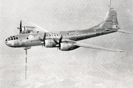 "A modified Boeing B-29 Superfortress heavy bomber used for the 1948-49 Stratovision television broadcasting trials. Anon., ""Airborne telecasting proves successful."" Aero Digest, August 1948, 32."