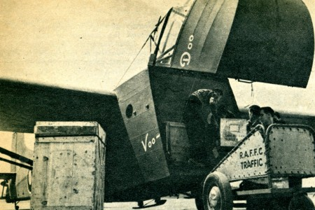 "Loading up Voo-Doo, the Waco Hadrian used for the first transatlantic flight by a cargo glider, Montreal Airport (Dorval), Dorval, Québec, June 1943. Anon., ""Flying into focus"". Flying Aces, October 1943, 7."