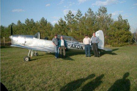 Dave ,George, Graham, James ,in front of KDN after test flight by George