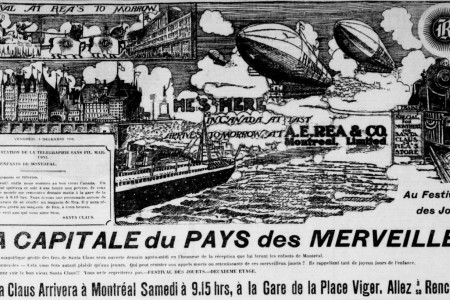 "Santa Claus' two rigid airships over the Saint Lawrence River abreast of Québec, Québec. Anon., ""Advertising – A.E. Rea & Company."" La Presse, 2 December 1910, 15."