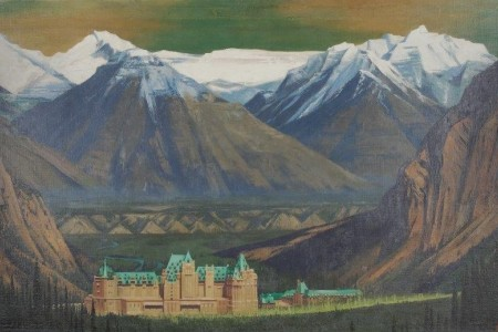 An oil painting depicts a hotel dwarfed by the mountains of Banff.
