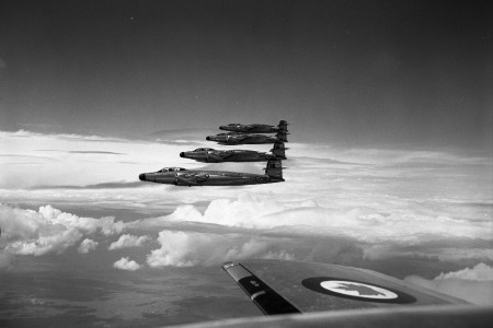 Four CF-100s in flight