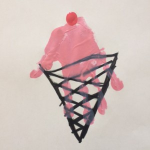 craft example: a painted handprint on a drawing of an ice cream cone