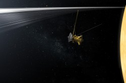 An artists impression of the Cassini spacecraft crossing the ring plane.