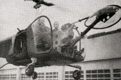 "One of the Bell Model 47s ordered by Lindberg-Ryan Air Exploration Company, Incorporated during a pre-delivery test flight at the Bell Aircraft Corporation factory in Niagara Falls, New York. Lundberg is in the right hand seat. The similarities between the helicopter in this photo and the one in the ad you saw at the start of this article are quite striking. Anon., ""The aviation news."" Aviation, March 1947, 61."