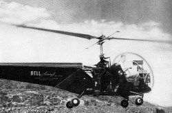 "A Bell Model 47 used by Lundberg to test his equipment. This machine is the second commercially registered helicopter in the world. Anon. ""Prospecting with helicopter and magnetics."" Science Illustrated, December 1946, 64."