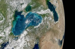 Blue swirls of phytoplankton in the Black Sea, imaged from space.