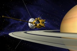 An artist's impression of the Cassini spacecraft in the foreground and Saturn in the background.