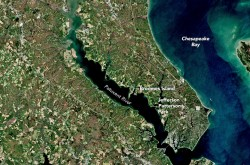 A satellite image of the Patuxent River.