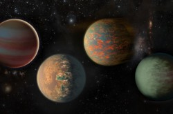 An artists impression of exoplanets.